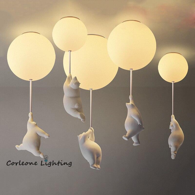 Modern Cartoon Bear Ceiling Lights Warmth Ceiling Lamps for Children Kids Room Bedroom Lamp Living Room Decor LED Light Fixtures