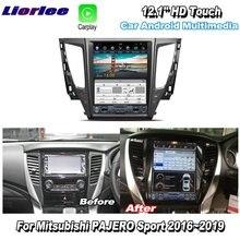 Liorlee 12.1 hd hd tela super hd para mitsubishi pajero esporte 2016 2019 rádio do carro android carplay gps navi mapas de navegação