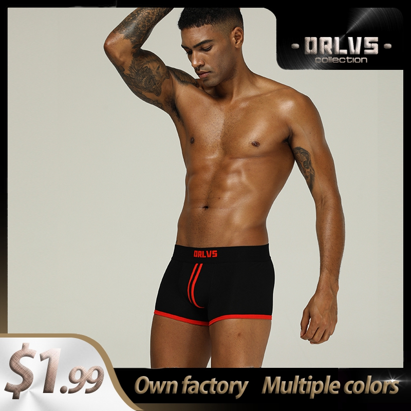 ORLVS 2020 Sexy Underwear Men Boxer Shorts Mens Cotton Male Boxershorts OR167 Cuecas Striped Breathable Long