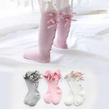 Baby Socks Girls Tube Lace Toddler Knee-High Cotton Solid Ear Trousers Combed Leg-Warms