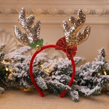 Bell Reindeer Headband Horns Cosplay Antlers Deer Ears Headband Xmas Gift Christmas Hair Accessories for Kids Adults Christmas