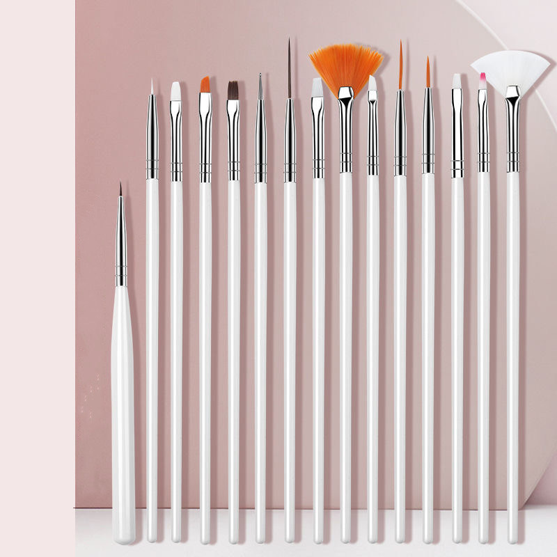 15Pcs/Set Nail Brush For Manicure Gel Brush For Nail Light Therapy Pen Crystal Pen Silicone Pen Drill Pen Color Painting Brush