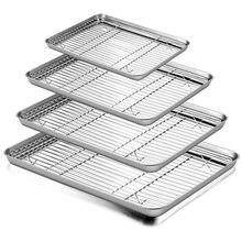 Plaque de cuisson en acier inoxydable, grille rectangulaire, plaque de cuisson pour biscuits avec grille de refroidissement amovible, outil de cuisine
