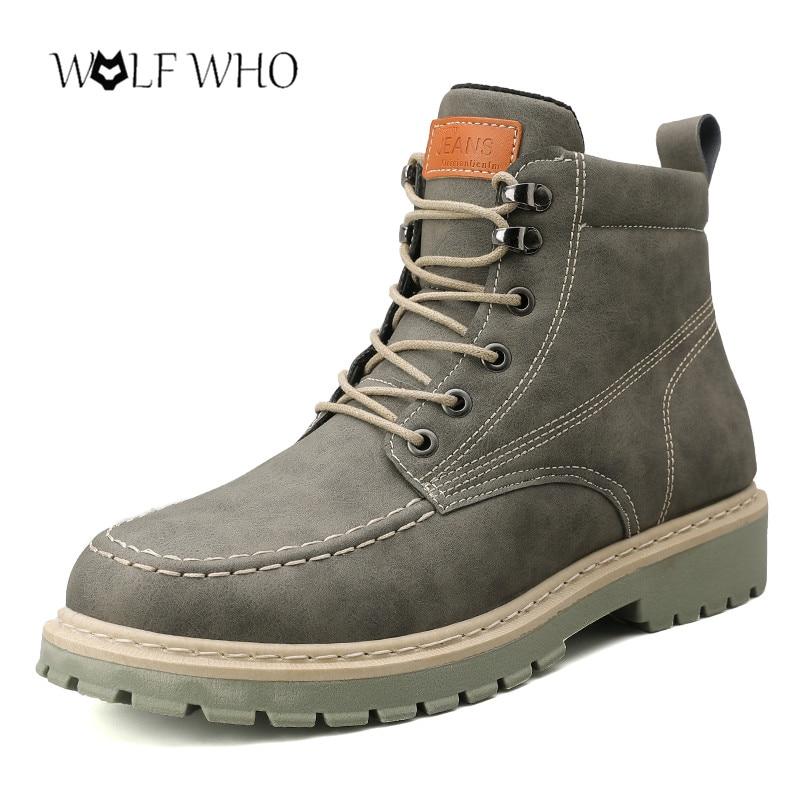 Men Casual Boots Winter Cotton Boots Male Fashion Work Safety Boots For Men Erkek Ayakkabi Outdoor Walking Boots Martens 39-44#