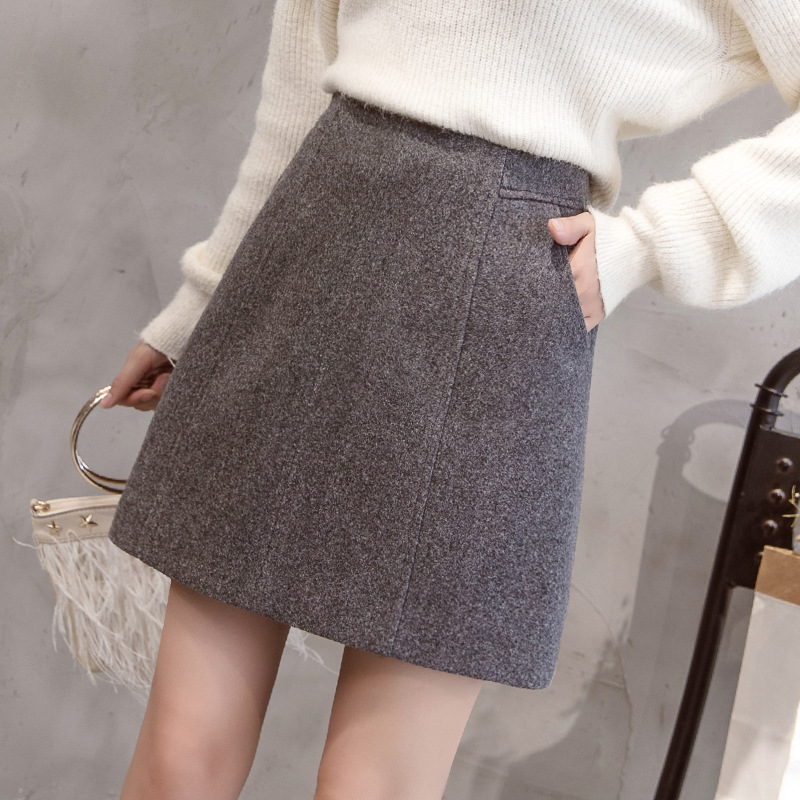 S-2xl Winter High-waist Wool Skirt Women 2019 Plus Size Slim Thickened Mini Skirt Women For Autumn Black Mini Skirt Jupe Femme