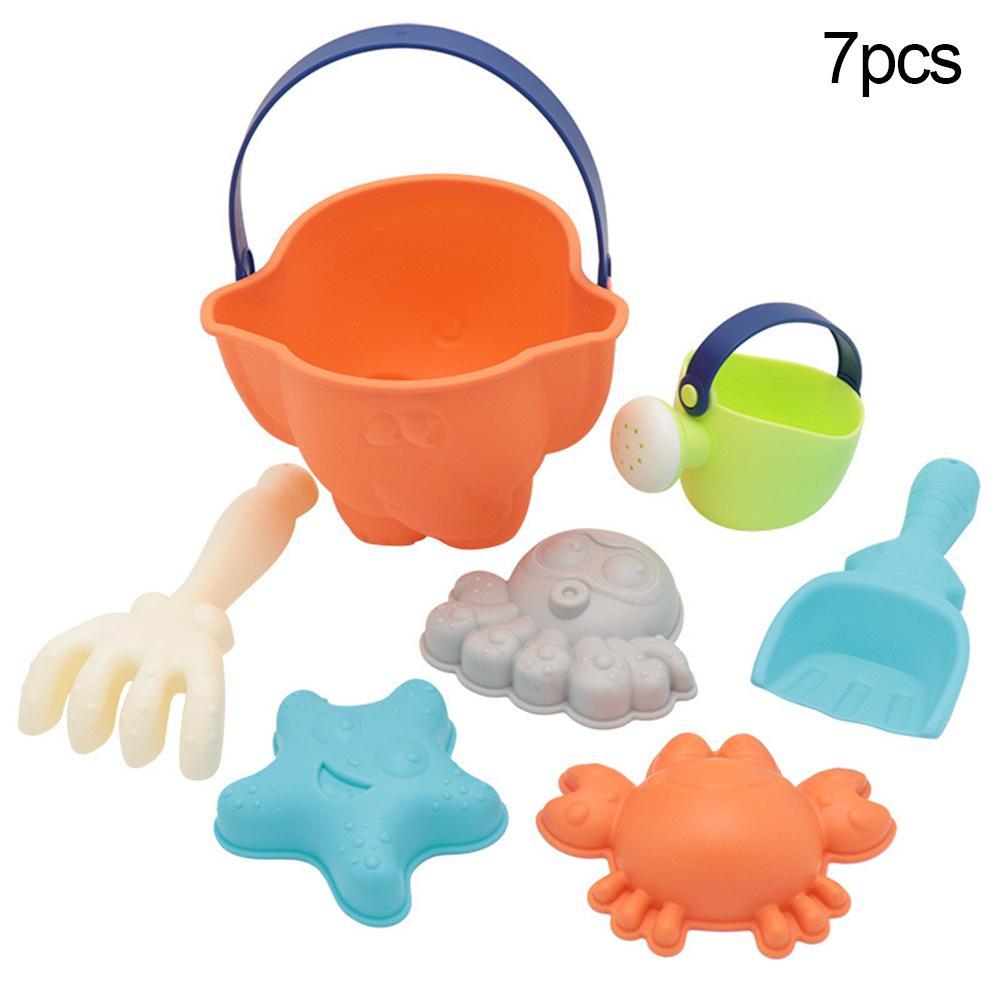 7Pcs/Set Children Beach Rake Octopus Crab Bucket Model Play Sand Sandpit Toy Spade Crab Starfish Octopus Bucke, Watering Pot