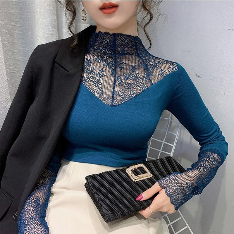 Women Elegant Lace Blouse Female Sexy Mesh Long Sleeve Shirt Tops Plus Size Fashion Floral Embroidery Hollow Out Solid Blouses