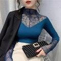Женская элегантная кружевная блузка, женская сексуальная сетчатая рубашка с длинным рукавом, топы размера плюс, модные однотонные блузки с ...