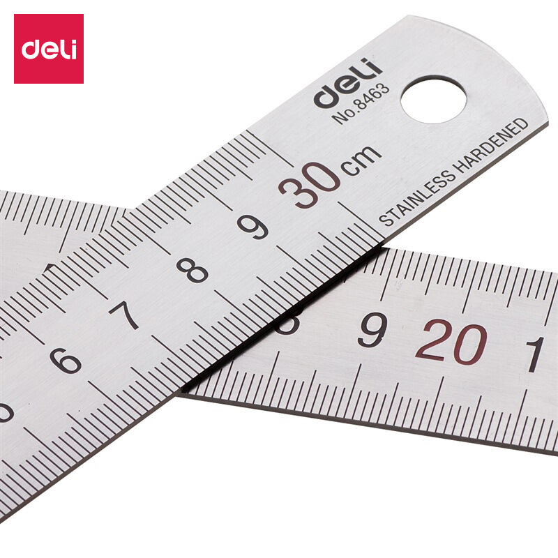 Deli 30cm 50cm Stainless Steel Ruler Measuring Drawing Scale With Formula Conversion Table Office Supplies 8464