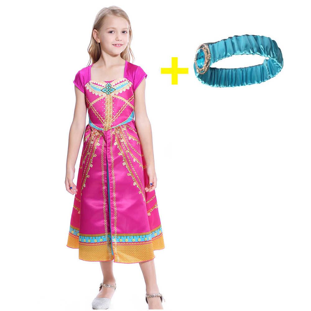 Aladdin Jasmine Dress เครื่องแต่งกายสีชมพู Fuchsia ชุดเด็ก Aladdin MAGIC เด็กชุด Headband ฮาโลวีนเครื่องแต่งกาย