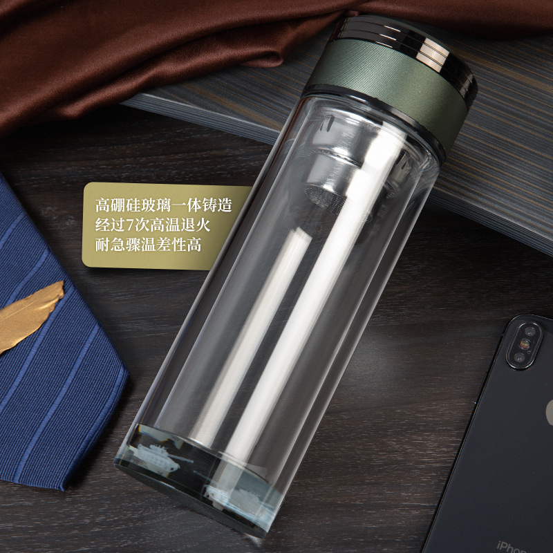 Business high-grade water cup transparent high borosilicate double-layer glass Sealed leakproof
