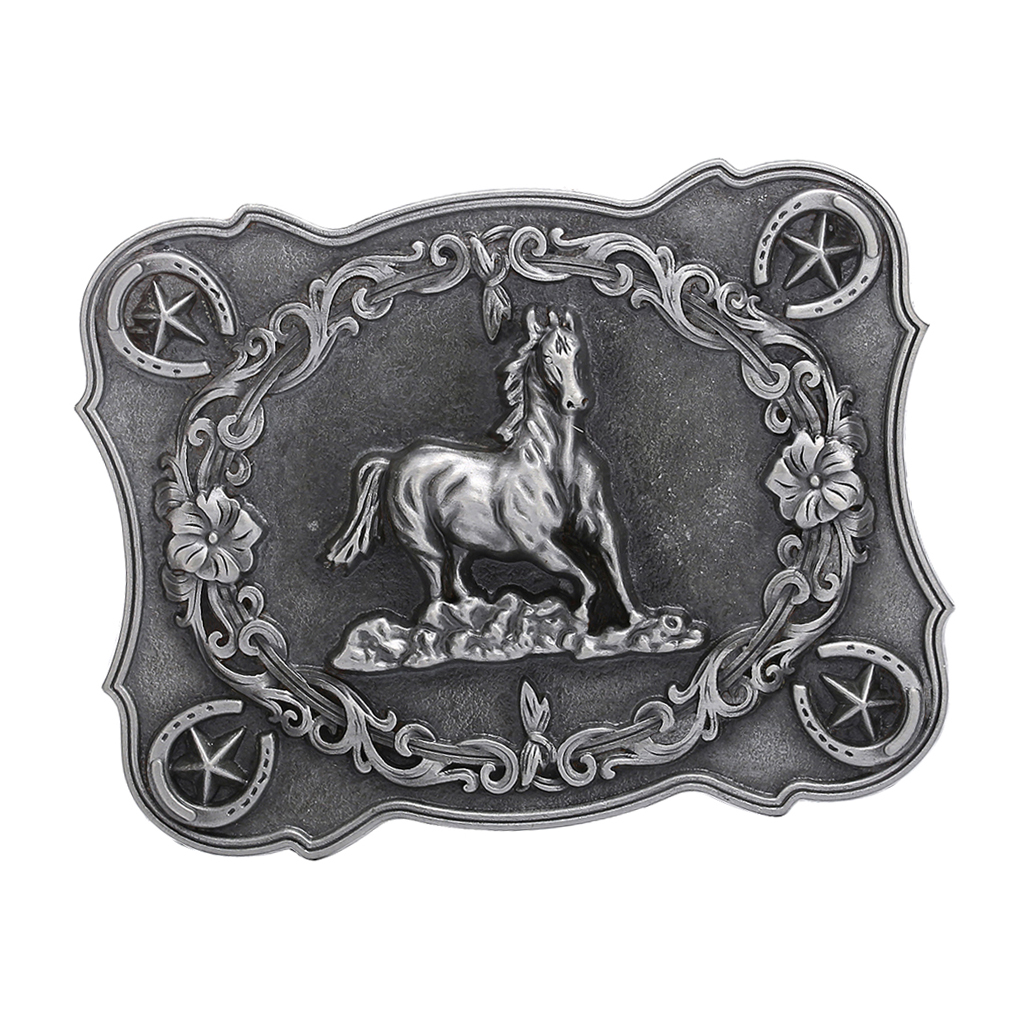 Men's Classic Retro Style Carved Horse Cowboy Western Belt Buckle Accessory Rectangle 3D Buckle Cool Man Gift