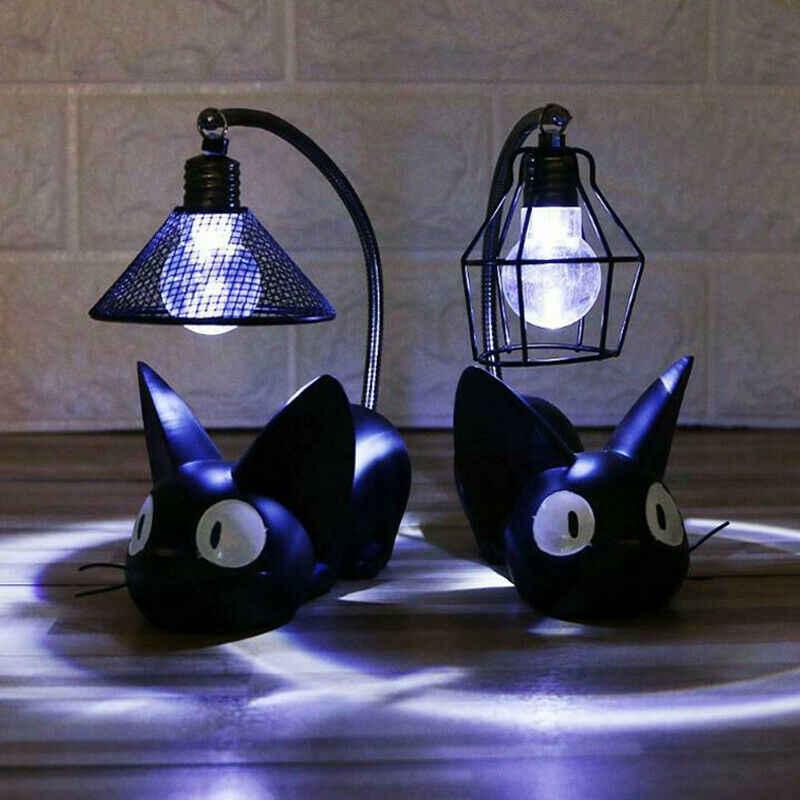 LED ليلة ضوء سطح المكتب لمبة مكتب أسود Jiji القط الراتنج الحرف الديكور غرفة التماثيل والمنمنمات
