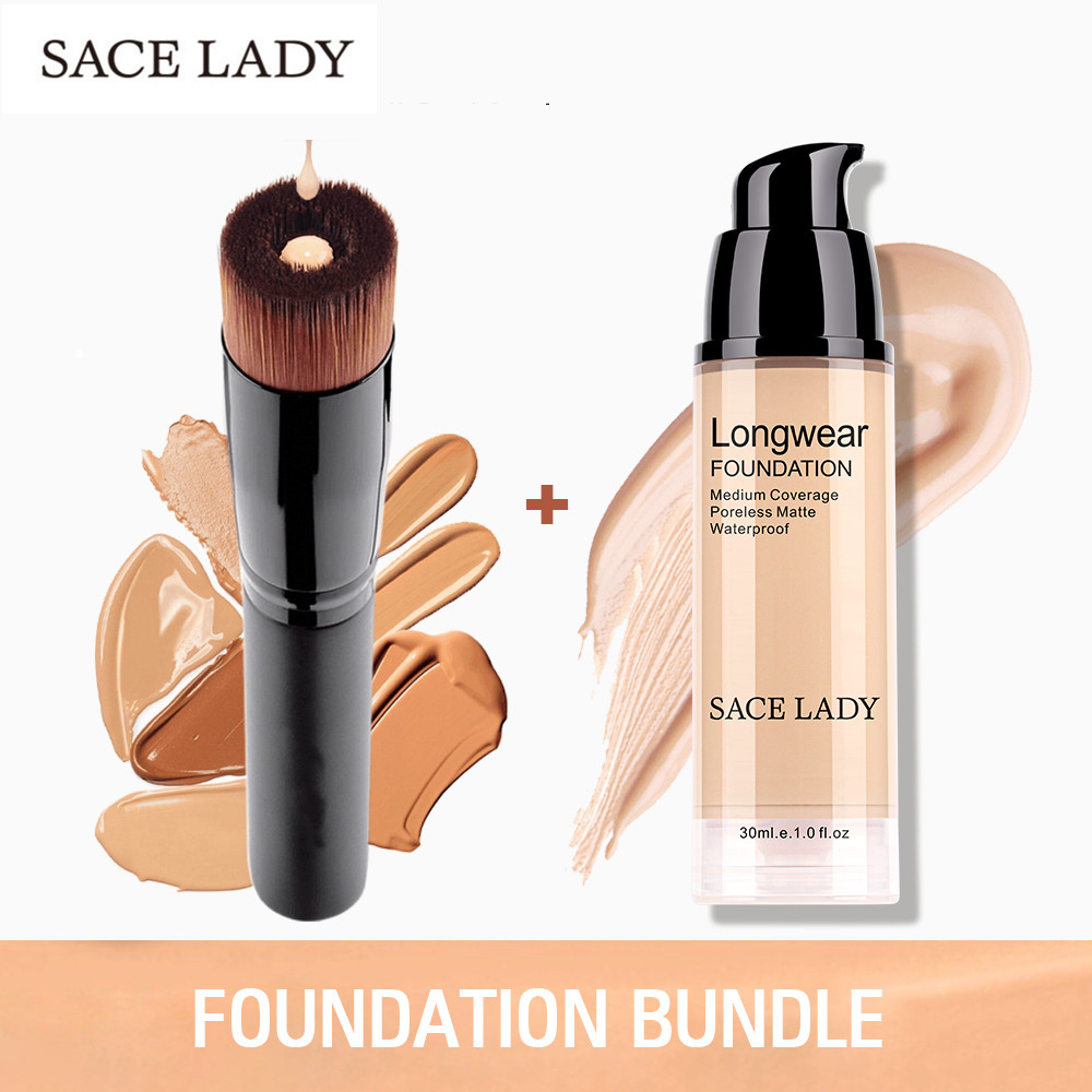 SACE LADY Make Up Set Foundation 30ml Liquid Foundation Matte High Coverage Concealer Cream Base Maquiagem + Makeup Brushes