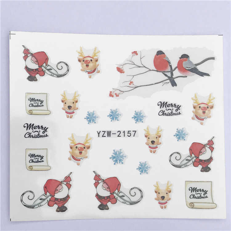 Nail Sticker Water Decals Nails Art Tattoo Slider Merry Christmas Santa Claus Bird Design Decoration Manicure Pegatina Wraps