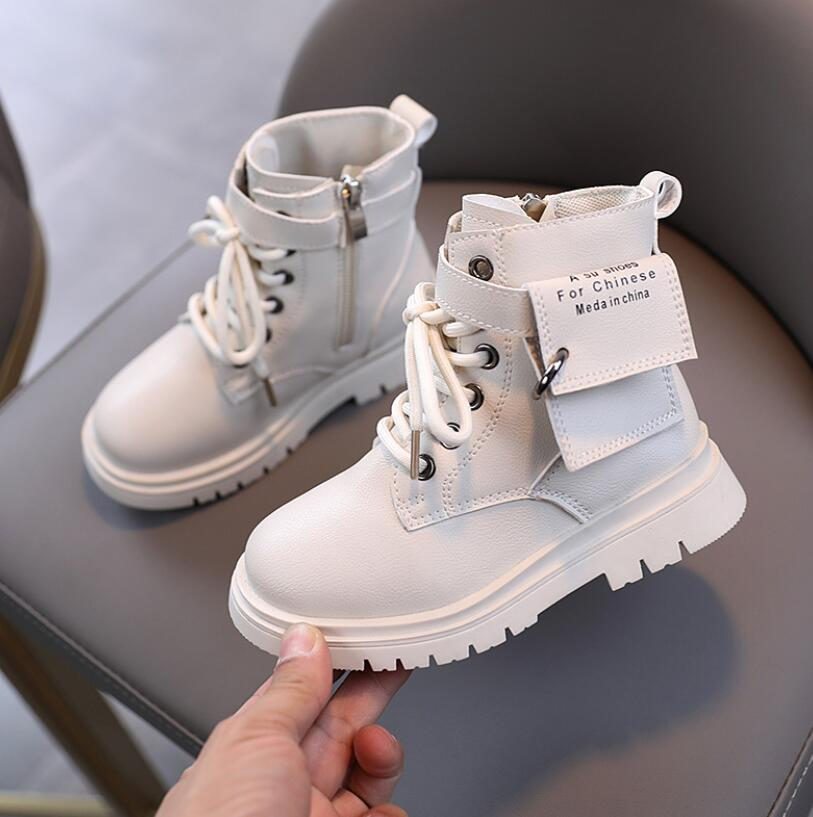 2020 Autumn/Winter Plush Children Fashion Boots Boys Girls Martin Boots Fashion Brand Soft Leather Warm Kids Snow Boots Sneakers|Boots|   - AliExpress