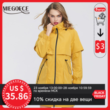Miegofce 2020 nova primavera casaco feminino jaqueta windbreaker moda de comprimento médio solto clássico modelo cabido bolsos com zíper