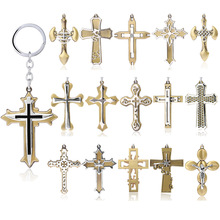 Retro Punk Keychain Hollow Out Two-Color Character Cross Pendant Key Chain Men Rock Jewelry Keyring Crucifix Faith Jesus europe and united states popular jesus cross bracelet inri crucifix jesus cross bracelet punk titanium men thomas style gift