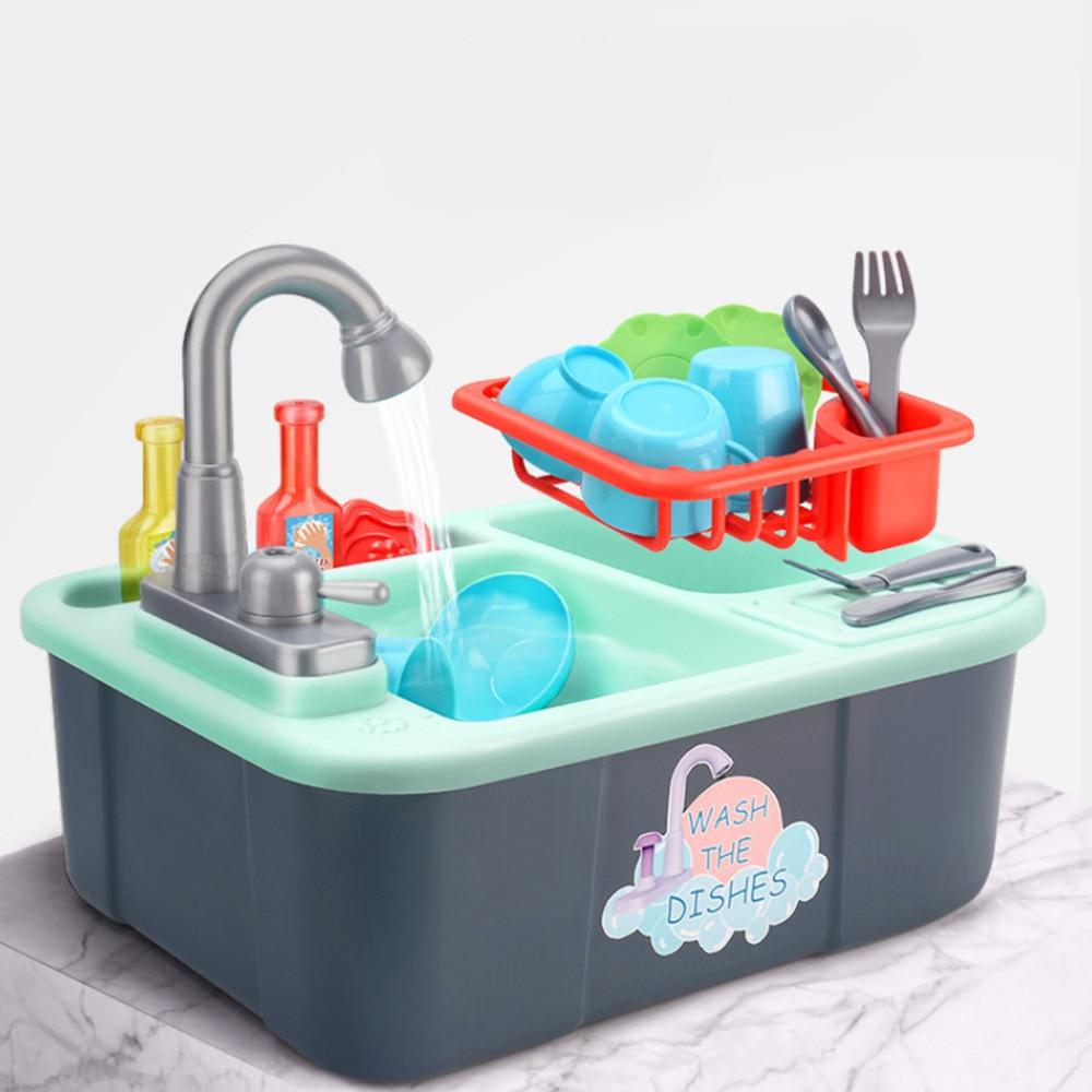 simulation kitchen game toys Kids Plastic Dishwasher Toy Pretend Play Kitchen Toy Set Dishwasher Sink Early Education Toy
