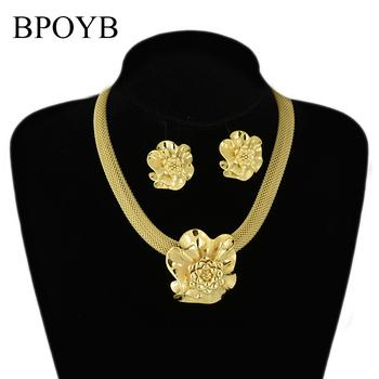 BPOYB 2021 najnowsze wspaniały wisiorek kwiat róży gruby Choker naszyjnik kolczyki złoty zestaw biżuterii kolor afryki dubaj kobiety Bijoux tanie i dobre opinie Miedzi CN (pochodzenie) Metal Hiperbola Earrings Necklace Naszyjnik kolczyki Moda CS0014 Zestawy biżuterii Party 0 071 kg