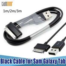 10 adet 1m 3ft 2m 3m Sync şarj kablosu USB güç kabloları Samsung Galaxy 7 7.7 8.9 10.1 Tab 2 Tablet siyah