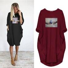 2020 размера плюс 5xl Дамское Платье Харадзюку с принтом женские