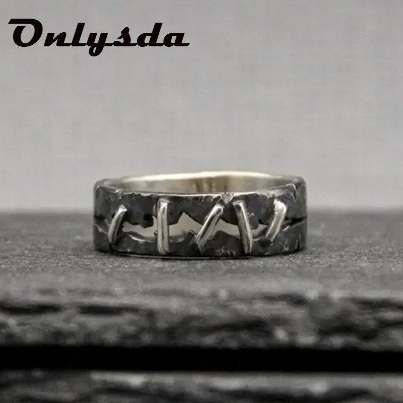 Antigo vintage 316l aço inoxidável anel frankenstein carne anel anéis de banda de casamento masculino biker jóias presente dropshippingosr705