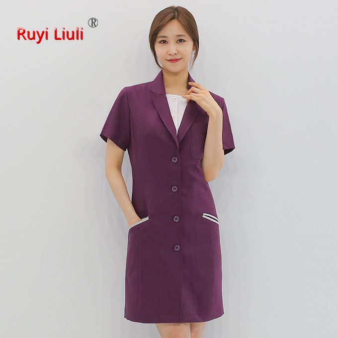 2019 New Fashion Short Sleeved Women Suits Surgical Gowns Clothes Brush Hand Clothes Nurse Doctor Cotton Solid Unitform-Ruyi