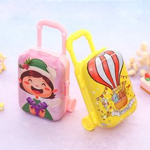 Christmas Gift Baby Toy Cartoon Miniature Travel Suitcase Shape Candy Box Toy Tinplate Storage Container(China)