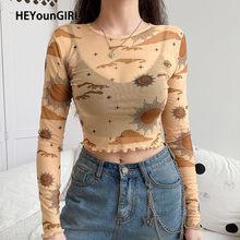 HEYounGIRL seksi örgü uzun kollu T-Shirt kadın Harajuku şeffaf kırpma üst T gömlek bayanlar baskı Streetwear yaz bahar 2020