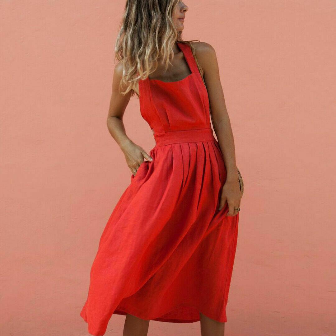 Hirigin Women Summer Boho Strappy Long Maxi Dress Sexy Backless Party Red Dress Beachwear Sundress Vestido Mujer
