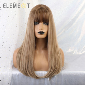 """Image 2 - Element 18"""" Blonde Synthetic Wig with Bangs Long Straight Natural Headline Heat Resistant Hair Cosplay Party Wigs for Women"""