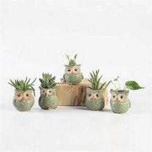 5pcs Owl Shaped Flower Pots Ceramic Mini Succulents Pots American country Japanese style retro decorative  ceramic planter pot