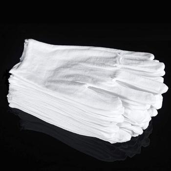 1 Pairs białe rękawiczki bawełniane rękawice robocze do suchych rąk obsługa filmów rękawice SPA uroczyste rękawice inspekcyjne uroczyste rękawiczki tanie i dobre opinie CN (pochodzenie) Oddzielone palce spandex Unisex 80 Cotton 20 Polyester White 8 6 21 8cm dropshiping wholesale