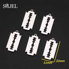 SMJEL Stainless Steel Razor Blade Charms Bracelet Choker Necklace Pendant Charms For Jewelry Making Handmade Craft bijoux(China)