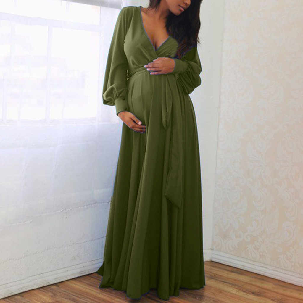 Women Pregnant Autumn Dresses Maternity V-Neck Long Sleeve Solid Ruffles Frenulum Sexy Party Dress 4 colour