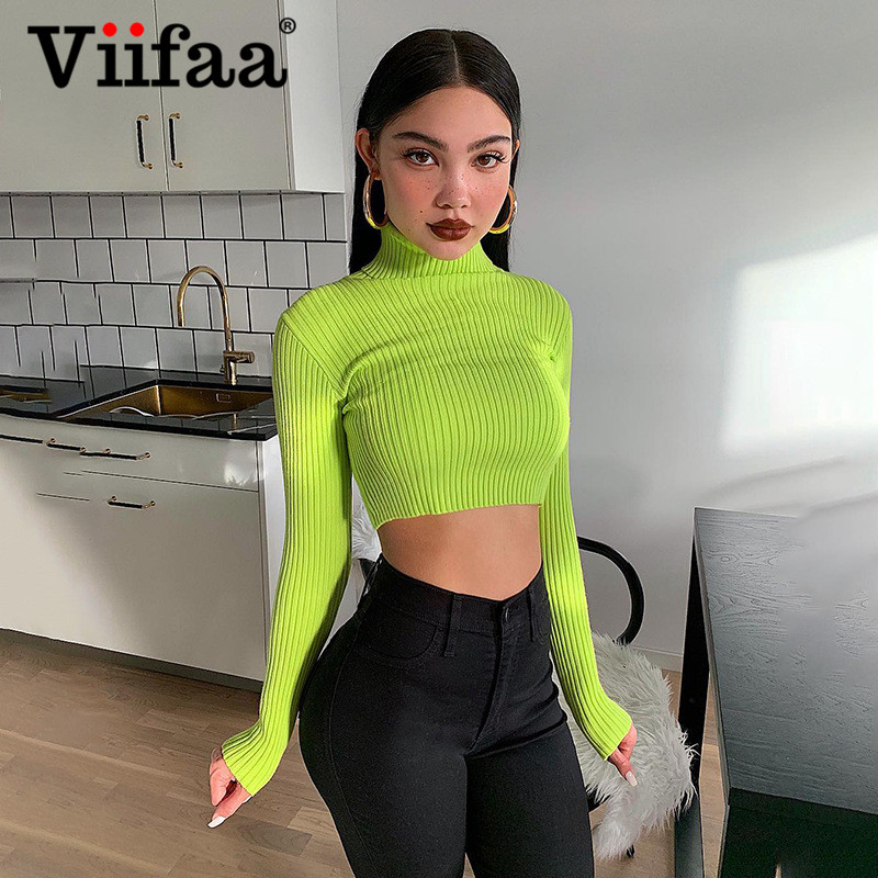 Viifaa Neon Green Solid Turtleneck Knitted Stretchy Crop Sweater Women Tops Spring Autumn Streetwear Slim Pullover Sweaters