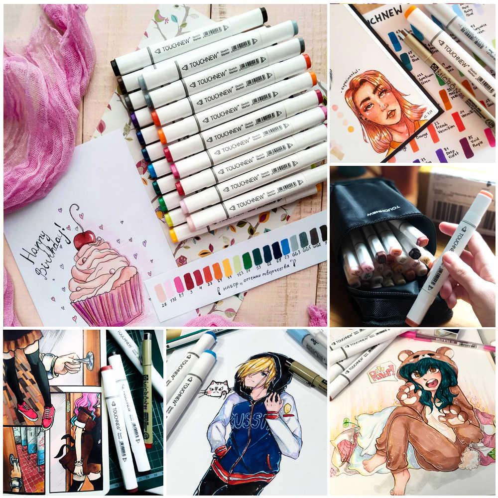 TOUCHNEW Arte Marcadores 30/40/60/80 Colores Artista Doble Dirigido Marcador Conjunto Manga de La Escuela de Diseño de Dibujo Marcadores del bosquejo Pluma Suministros de Arte