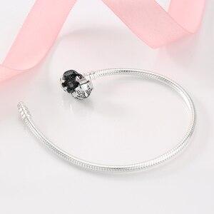 Image 3 - 925 Sterling Silber Schneeflocke charms Armband Gravieren Dazzling Klar CZ Runde Verschluss Seil Kette für Frauen DIY Schmuck
