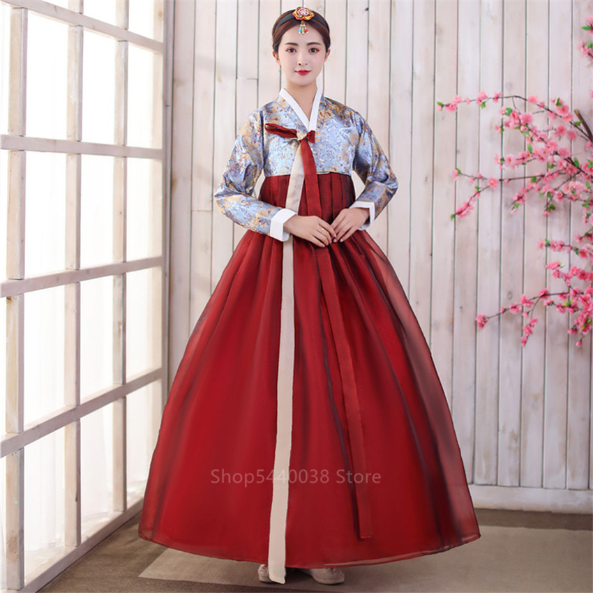 Korean Hanbok Traditional Costumes For Women Elegant Hanbok Palace Korean Wedding Oriantal Dance Costume Noble Performance Party