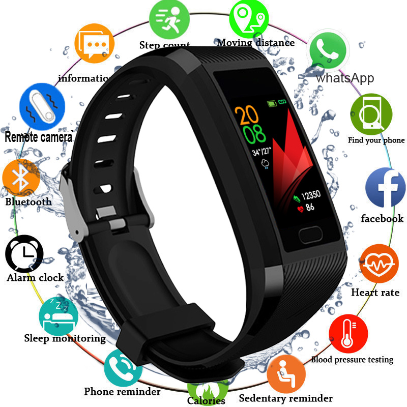 2020 Touch Screen Smart Band Watch Fitness Tracker Smart Bracelet Blood Pressure Measurement  Sport Fitness Bracelet Men Women