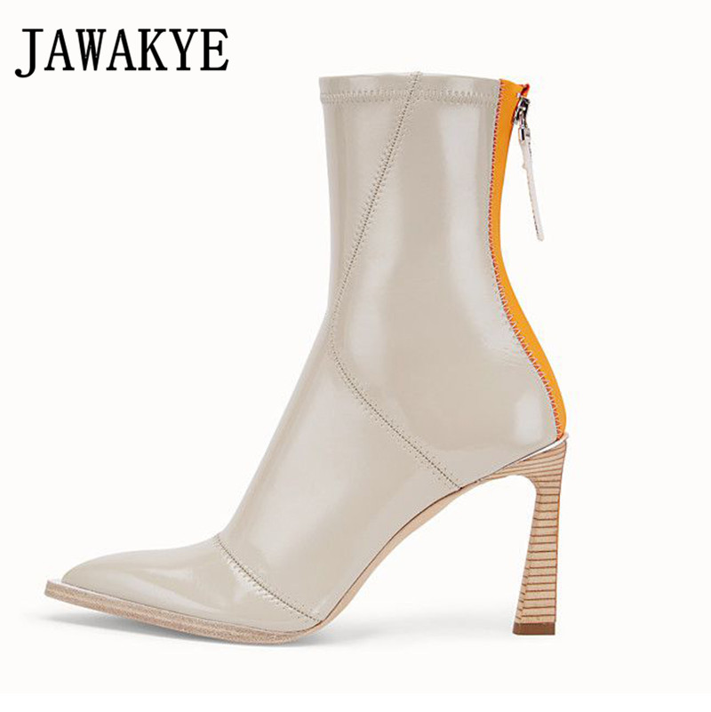 Patent Leather Ankle Boots For Women High Heels Stretch Autumn Sexy Short Boots Runway Pointed Toe Botas Mujer 2020 New Shoes
