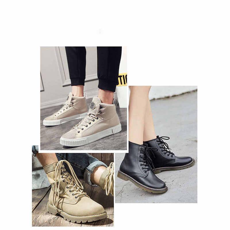Scarpe di cuoio del merletto delle donne degli uomini casuali Martin stivali militari nero bianco marrone scarpe cinghia corda Extra Lungo Merletto Shoestring