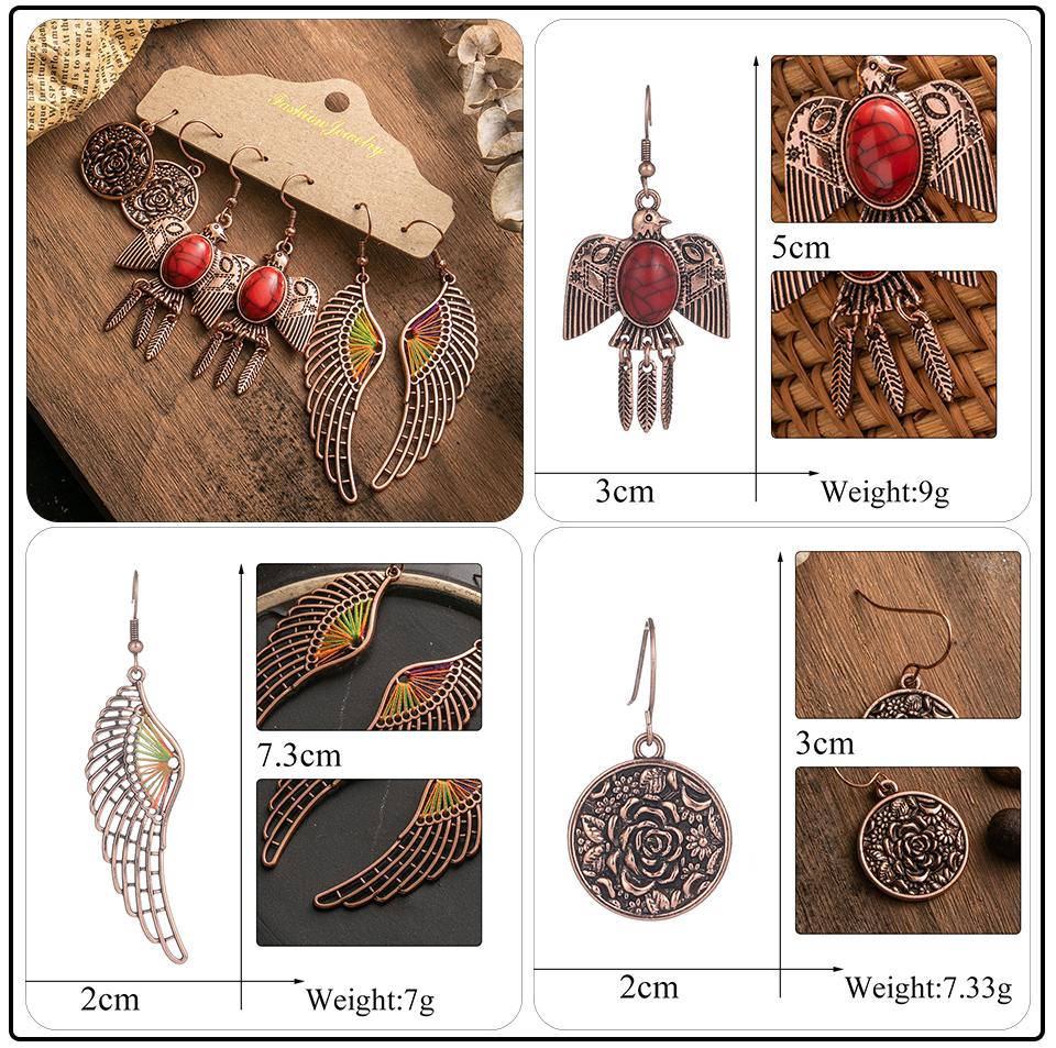 Ethnic Rose Gold Metal Tassel Fringe Womens Earrings Sets Jewelry Bohemia Vintage Round Circle Leaf Butterfly Geometric Drop Earrings Dropshipping Wholesale (6)