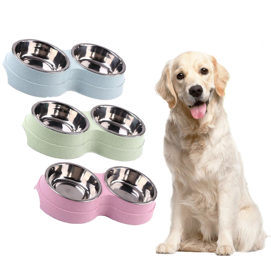 Double Pet Bowls Dog Food Water Feeder Stainless Steel Pets Drinking Dish Feeder Pets Supplies Feeding Dishes Dogs Bowl Dropship