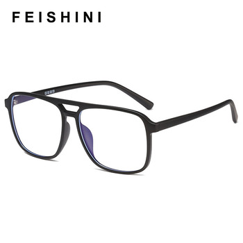 Feishini Computer Glasses Big Square Rays Radiation Gamin Eyewear Plastic Titanium Unisex Anti Blue Light Eyeglasses Women image
