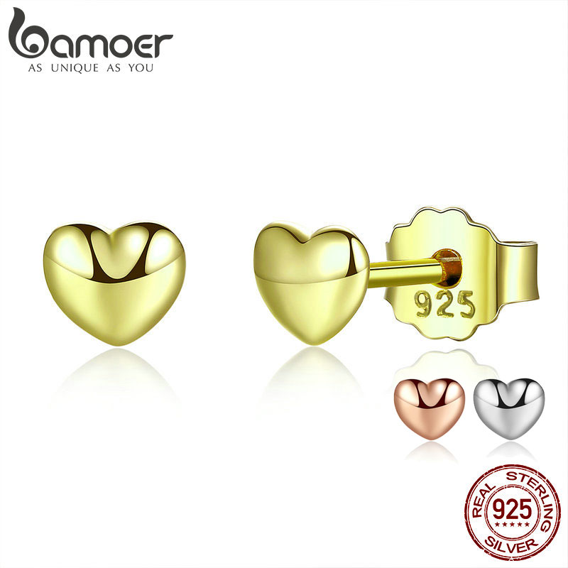 BAMOER Genuine 100% 925 Sterling Silver 3 Colors Small Heart Stud Earrings For Women Sterling Silver Jewelry Gift PAS440-GD
