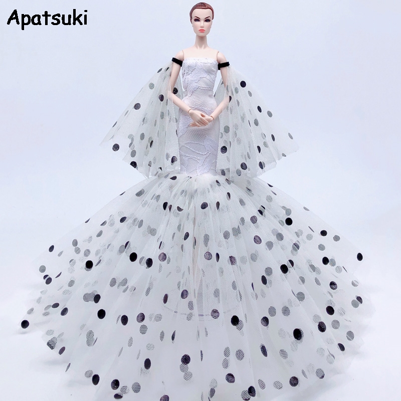 Polka Mermaid Fashion Doll <font><b>Clothes</b></font> For Barbie Doll Dress Outfit Fishtail Party Gown For <font><b>1/6</b></font> <font><b>BJD</b></font> Doll Cosplay Costume Accessories image
