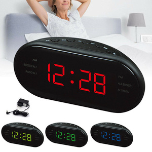 Image 2 - 1.2 אינץ LED 3 FM & AM רדיו תצוגת שעון אלקטרוני מעורר שולחני שעון דיגיטלי שולחן רדיו מתנת בית משרד אספקת האיחוד האירופי Plug