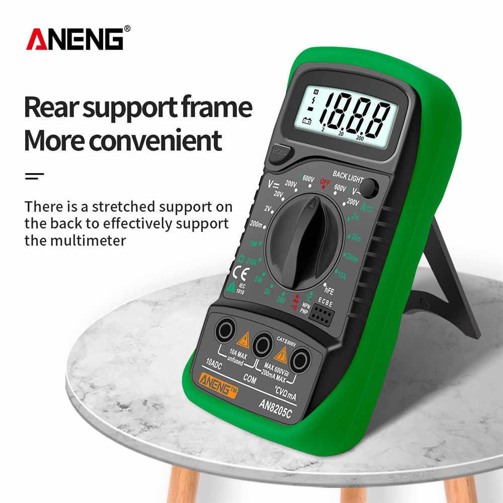 ANENG AN8205C 디지털 멀티 미터 AC/DC 전류계 볼트 옴 시험기 멀티 미터 열전쌍 LCD 백라이트 휴대용